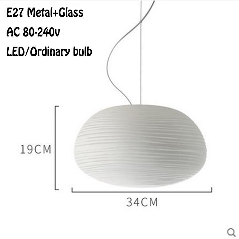 Nordic Simlpe Milky White Pendant Lights E27 Glass Single Head Lamp For Living Room Dining Bedroom Bedside Restaurant Cafe Bar