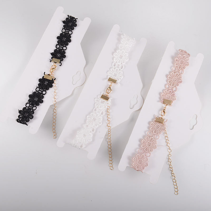 ZYZQ Elegant Noble Lace Choker Necklace For Women Black White Pink Color Available Party Accessories Short Necklace Wholesale