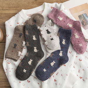 Autumn and winter Cartoon Little cat woman socks warm thickening woman wool socks kawaii women warm winter socks