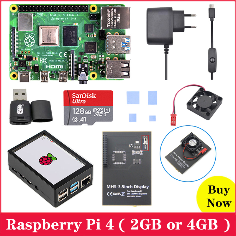 Raspberry Pi 4 Board With MHS 3.5inch Touchscreen ABS Case Power Supply SD Card Cooling Fan Heat Sink For Raspberry Pi 4 Model B