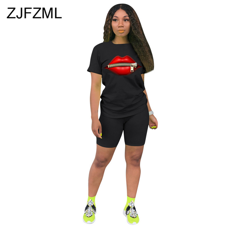 Mouth Lips Print Two Piece Set Summer Clothes For Women O Neck Short Sleeve T Shirt And Bodycon Shorts Sweat Suits Matching Sets