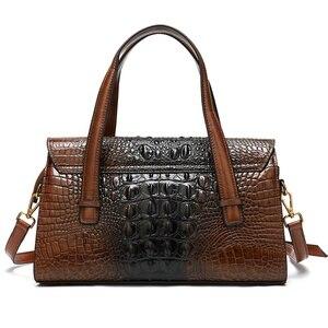 Image 3 - WESTAL handtaschen frauen aus echtem leder alligator design frauen leder handtaschen messenger/schulter taschen großen griff top tasche