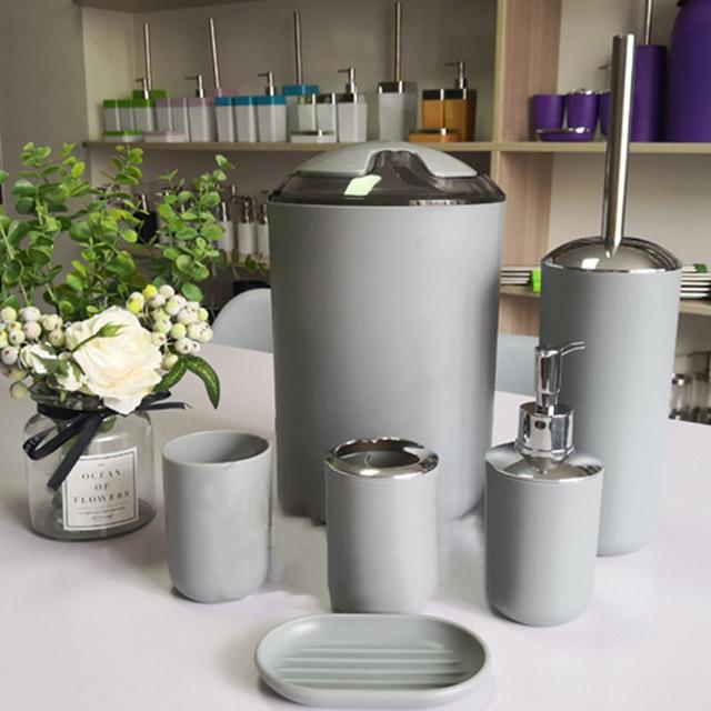 6 Pcs European Plastic Bathroom Accessories Set Toiletries Bathroom Hotel Supplies Dropshipping FAS
