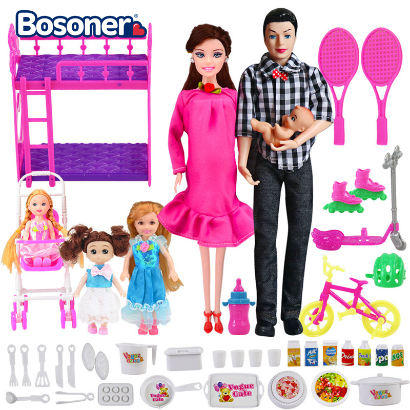 6 People Family Doll Suits Mom/ Dad/ Son Baby/ Kelly/Carriage Girls Toys Fashion Pregnant Doll Kid Toys
