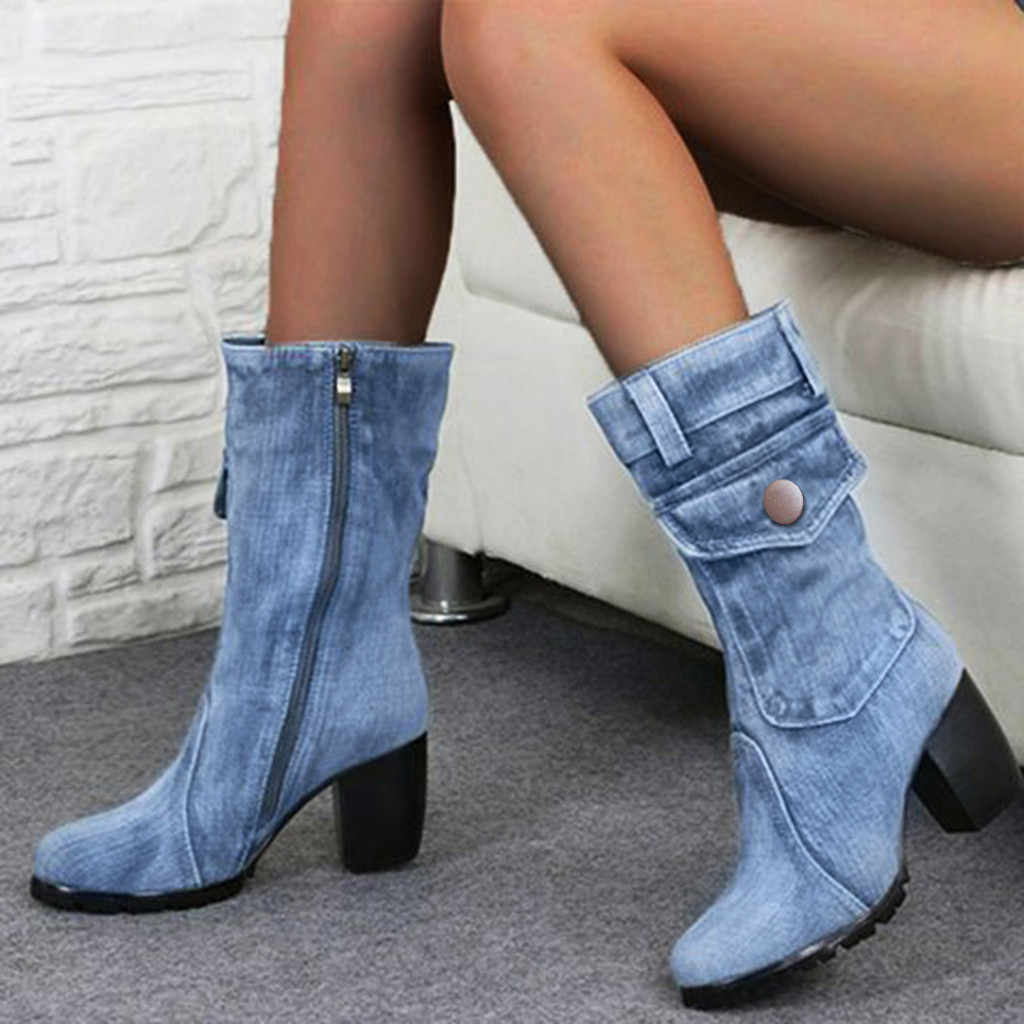 Denim boots for Women Mid-rise Rome Solid color Large Size Shoes woman Slip-On Chunky Med Heels Mid-calf Boots chaussures femme