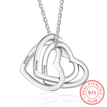 Women's 925 Sterling Silver Simple Interlocking Heart Pendant Necklace Personalized Custom Engraved Name Necklaces For Mom Gift(China)
