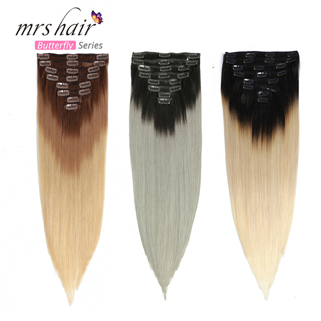 $ US $56.92 MRS HAIR Ombre Clip In Human Hair Extensions Full Head Natural Machine Made Remy Human Hair Blonde Clip In Hairpins Straigh