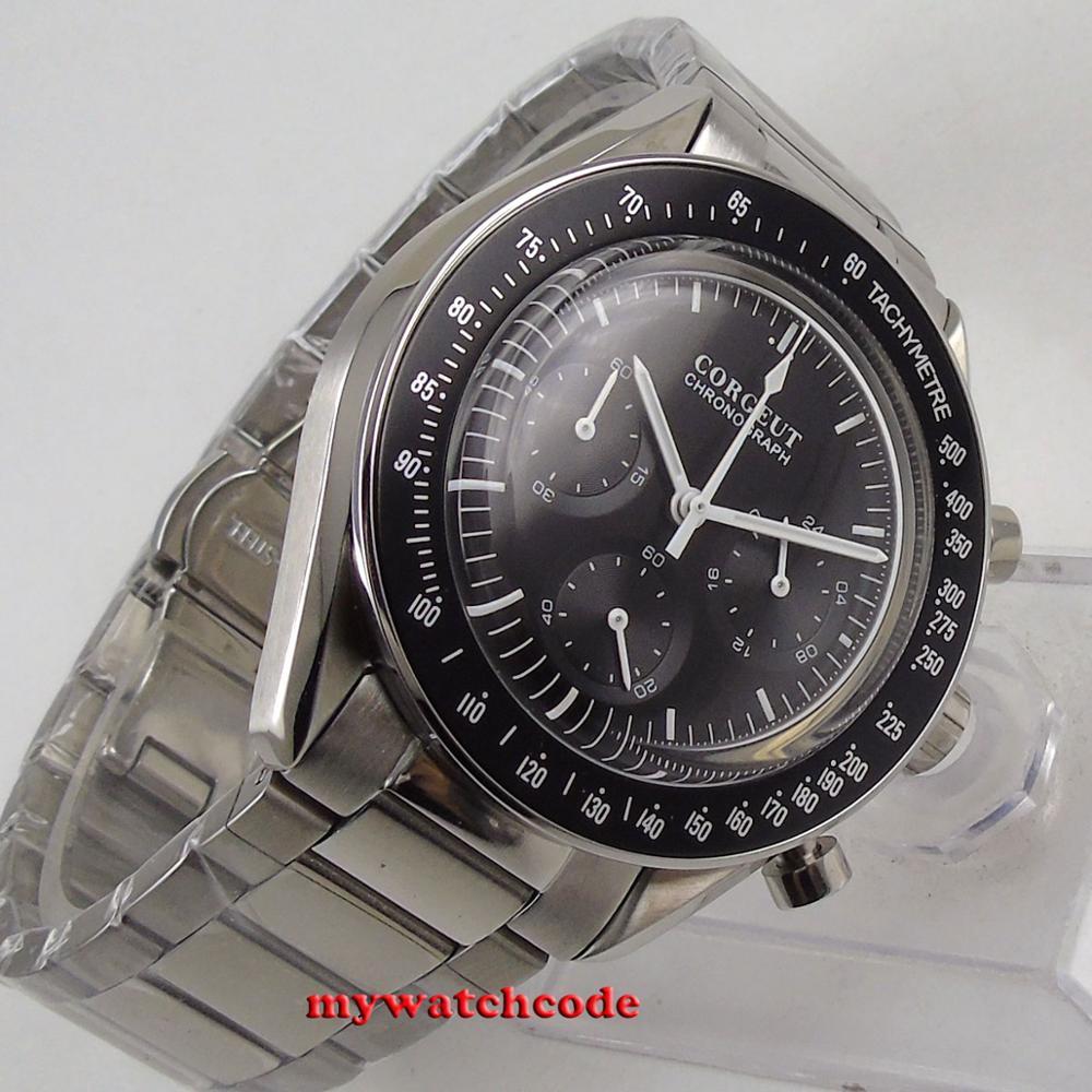 Chegam novas marca de luxo superior 40mm corgeut preto dial 24 horas aço inoxidável pulseira quartzo cronógrafo completo relógio masculino c176 - 5