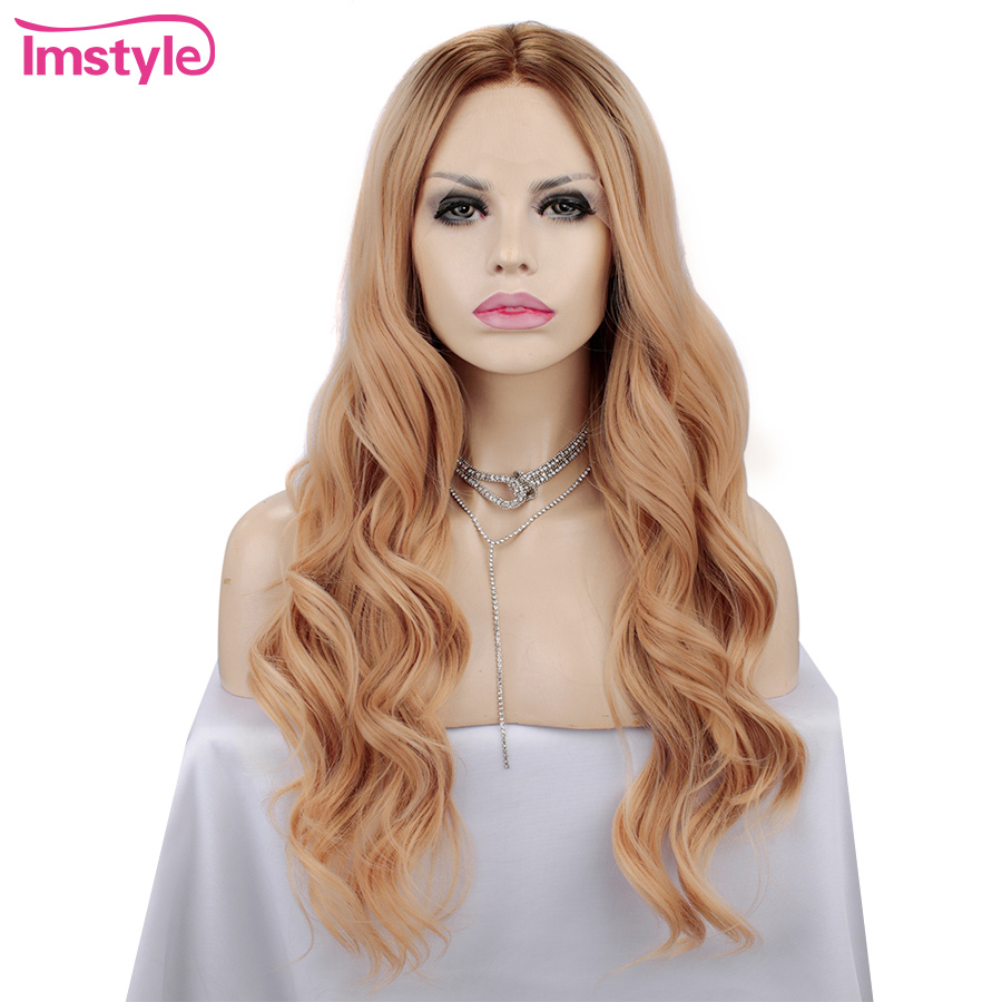 Imstyle Synthetic Lace Front Wig Orange Wigs For Women Natural Wavy 13x4 Lace Wig Heat Resistant Fiber Cosplay Party Wig 24 inch