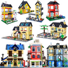 City Architecture Villa Cottage Model Building Blocks Compatible Friends Beach Hut Modular Home House Village Construction Toys