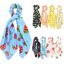Strawberry Pineapple Print Scrunchies For Woman Elastic Hair Bands Streamers Bow Rope Ties Fashion Accessories