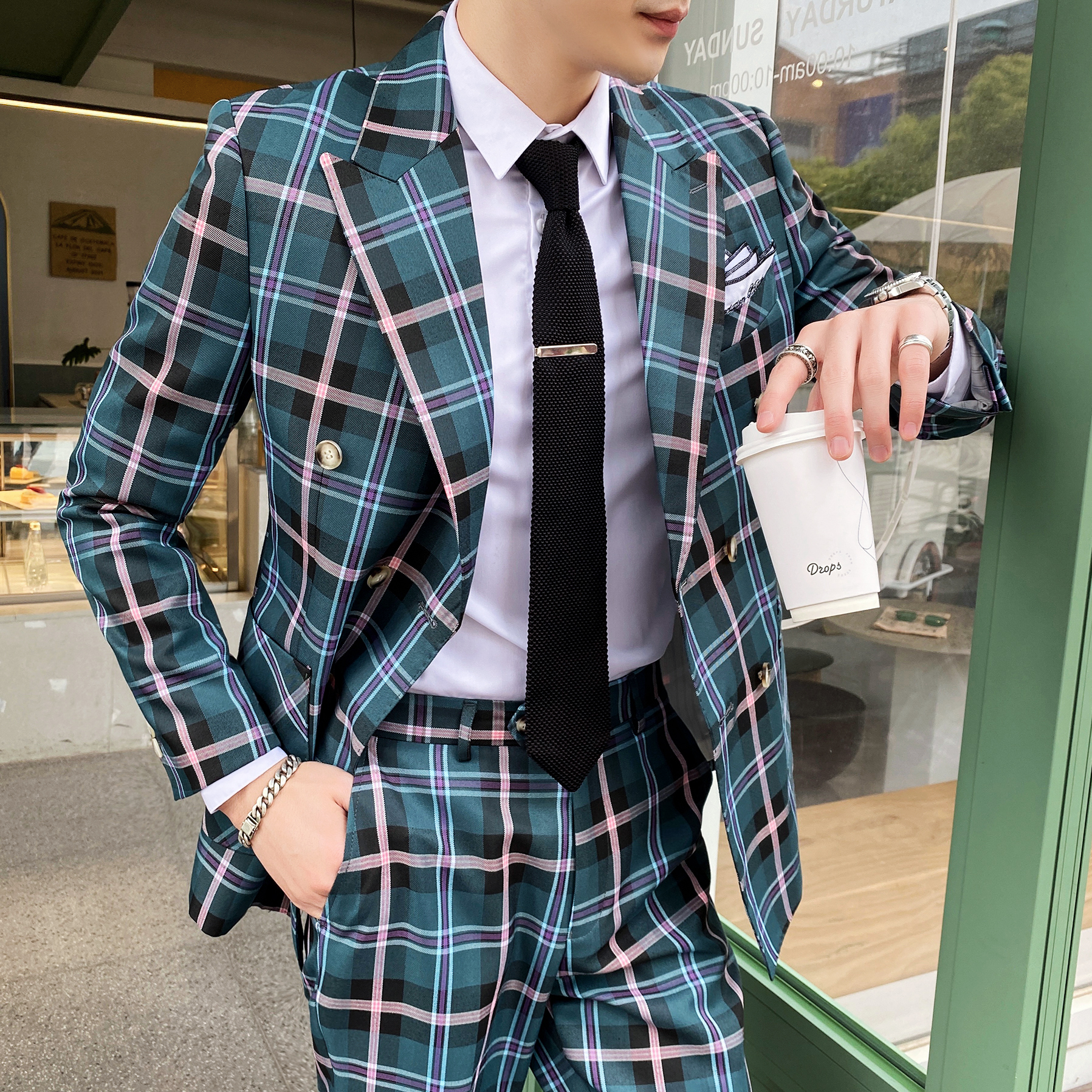 Yellow <font><b>Suits</b></font> With <font><b>Shorts</b></font> Vintage Plaid Classic <font><b>Suits</b></font> For <font><b>Mens</b></font> Blue Checked Casual <font><b>Suits</b></font> For <font><b>Mens</b></font> English Costumes Retro Clothing image