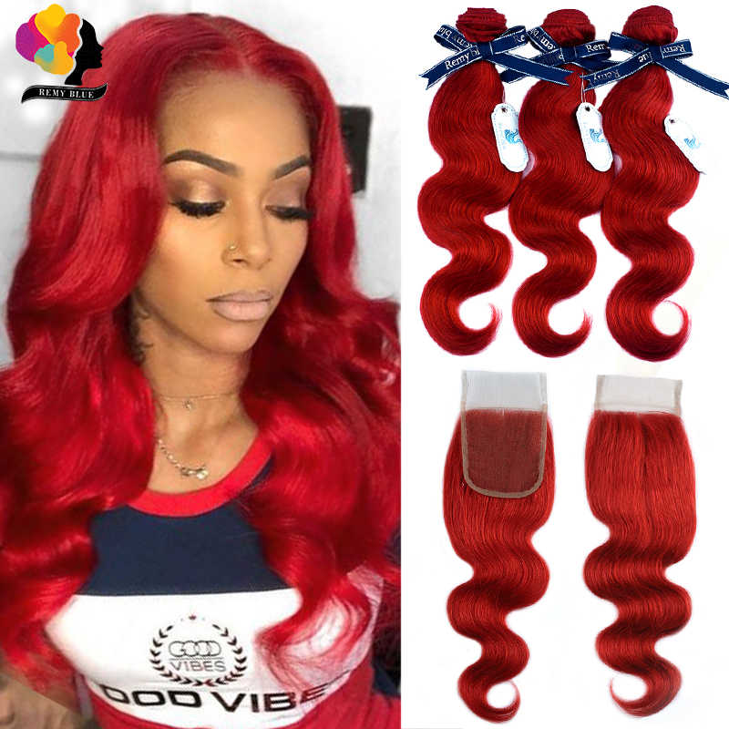 Red Bundles With Closure Burgundy 99J Colored Body Wave Bundles With Closure Brazilian Human Hair Bundle With Closure Remy Hair