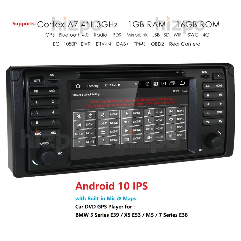 autoradio Android 10.0 7inch 1 DIN GPS player DVD Navi for BMW Series 5 E39 BMW X5 E53 M5 E38 supports Bluetooth DSP music radio image
