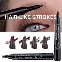 5 colores cejas lápiz impermeable 4 Punta de horquilla de cejas lápiz para tatuaje Natural de larga duración líquido marrón oscuro ojo lápiz de cejas TSLM1