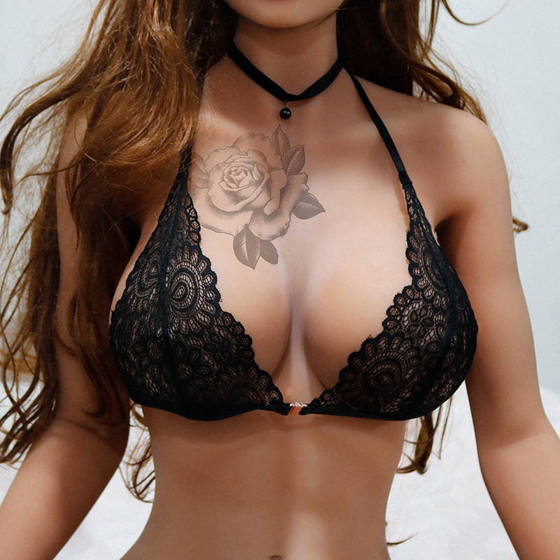Women Bra Lace Hollow Out Wire Free Lingerie Front Closure Retro Transparent Solid Color Underwear New Lingerie Intimate X