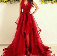 Sexy Red Halter V neck A Line Tulle Sweep Train Simple Ruffle Prom Dresses Prom Dress Custom Made 2020 Formal gown Evening Wear dress free shipping 2013 open leg custom size color sexy evening formal prom gown sweet beauty pageant ruffle dress new high low