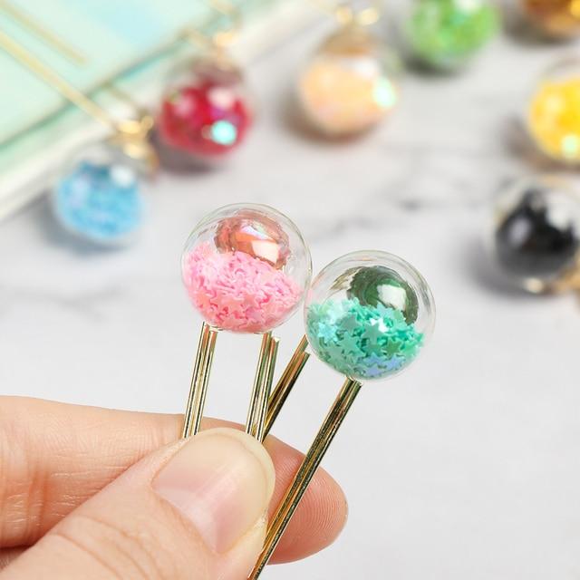 5 pièces/ensemble trombone créatif multicolore signet dossier cristal boule liant Clips organisateur de bureau papeterie fournitures de bureau