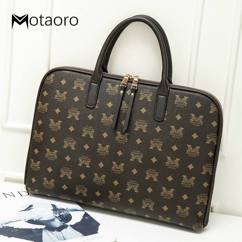 Women's Leather Brief Case For 2019 Ultra-thin 13.3 14 Inch Computer Bag Women Shoulder Business Bag Lady Fashion Handbag Tote