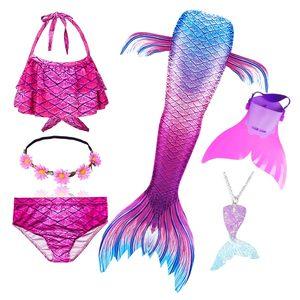 Image 5 - Girls Swimming Mermaid Tail Cosplay Mermaid Costume Swimsuit With or No Monofin Fin Flipper Kids Swimmable Children Swimwear Set