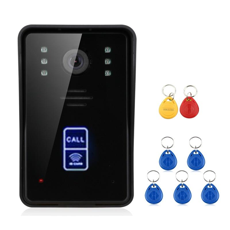 2 монитора 7 дюймов беспроводной Wifi RFID видео телефон двери дверной звонок Домофон Система с проводным IR CUT 1080P Проводная камера - 4