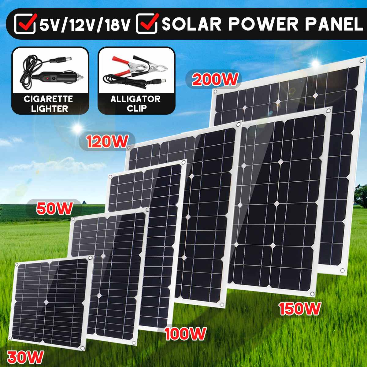 30W/50W/<font><b>100W</b></font>/120W/150W/200W Mono <font><b>Solar</b></font> <font><b>Panel</b></font> 18V DC Dual USB <font><b>12V</b></font>/5V Flexible <font><b>Solar</b></font> Charger For Car RV Boat Battery Charge image