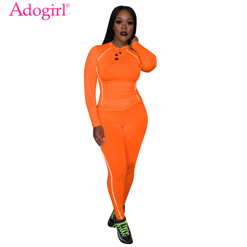Adogirl Fluorescent Trim Solid Athleisure Two Piece Set Women Tracksuit Long Sleeve T Shirt Top Pencil Pants Female Sportswear