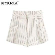 KPYTOMOA-Pantalones Cortos a rayas con cinturón para mujer, Vintage con bolsillos y cremallera Pantalón corto, 2020