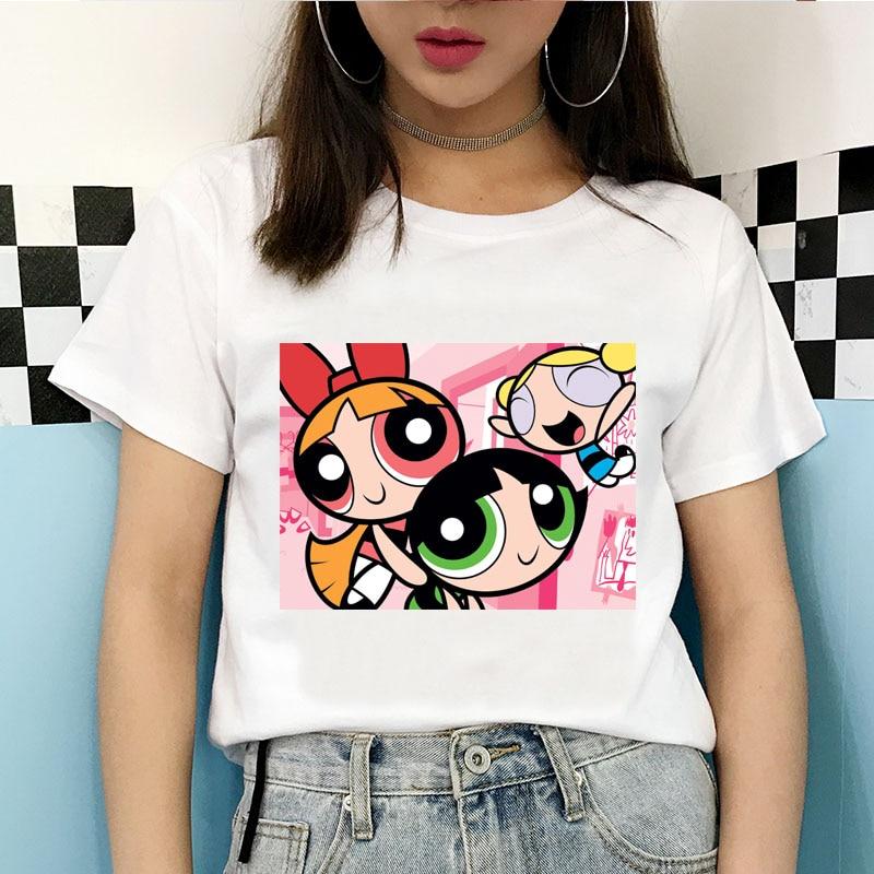 Powerpuff рубашка для девочек 2020 Летняя женская футболка забавная мультяшная Милая футболка с коротким рукавом Kawaii powerpuff топ для девочек Женска...