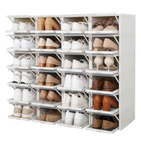 3 pieces / set Of Drawer Shoe Storage Box Thick Transparent Folding Shoes Storage Box Save Space Storage Rack HH