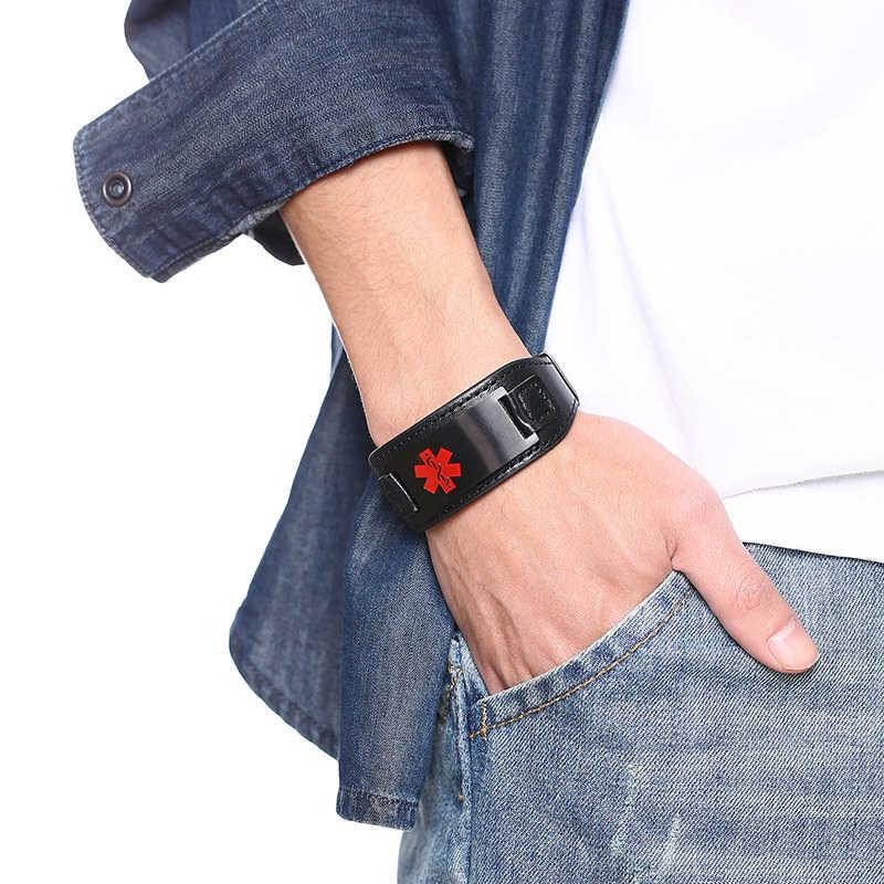 """ส่วนบุคคล Medical Alert ID หนังแท้สแตนเลสสตีลสายรัดข้อมือ 6.7 """"8.7"""" ฟรีที่กำหนดเอง"""