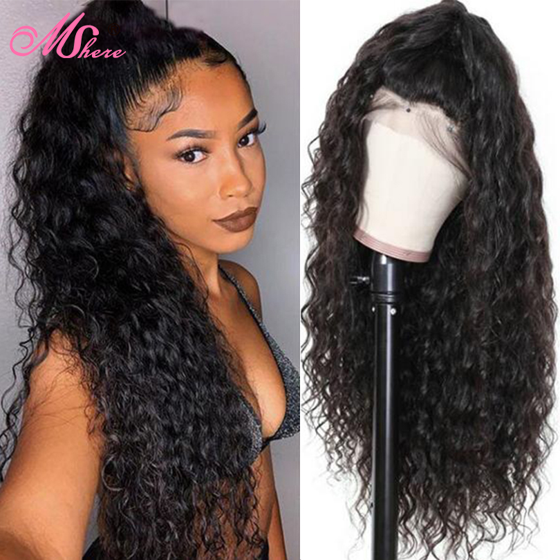 Peruvian Water Wave Lace Front Human Hair Wig Glueless Lace Wigs With Baby Hair Pre Plucked 150% Density Remy Hair Mshere