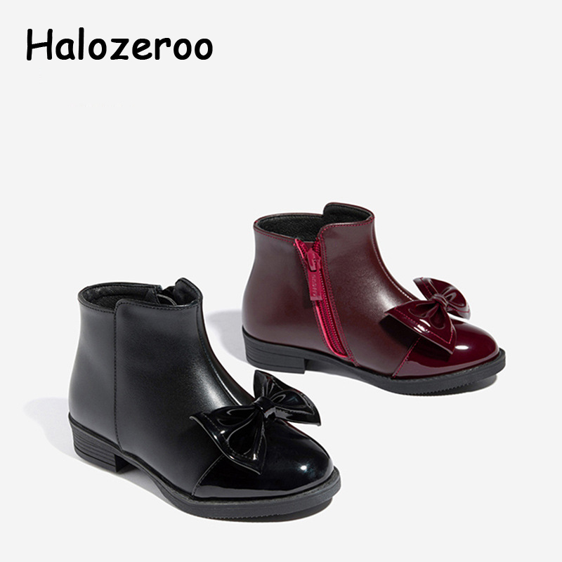 Winter Kids Princess Boots Baby Girls Bow Shoes Children Genuine Leather Boots Warm Ankle Boots Black Brand Shoes Fashion Boots