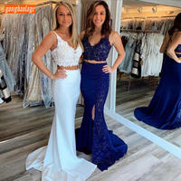 Trendy White Two Pieces Mermaid Evening Dresses Lace Applique V Neck Evening Gowns Backless Sweep Train Side Split Formal Dress