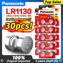 Panasonic – piles alcalines 1.5V AG10 LR1130, 30 pièces/lot, AG10 389 LR54 SR54 SR1130W 189 LR1130, pièces de monnaie, LR 1130