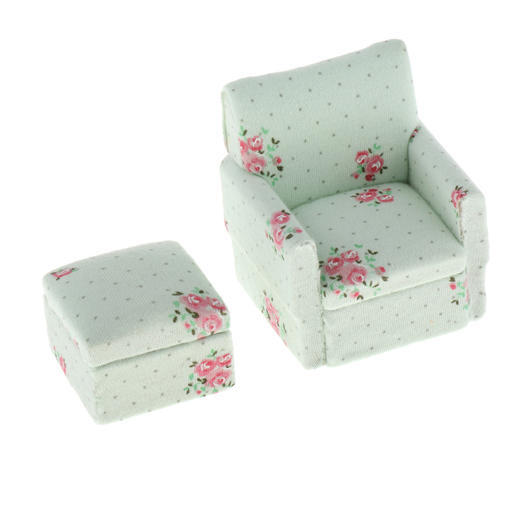 1/12 Dollhouse Miniature Room Furniture - Floral Sofa Couch With Stool - Mini Realistic Model Toy Set