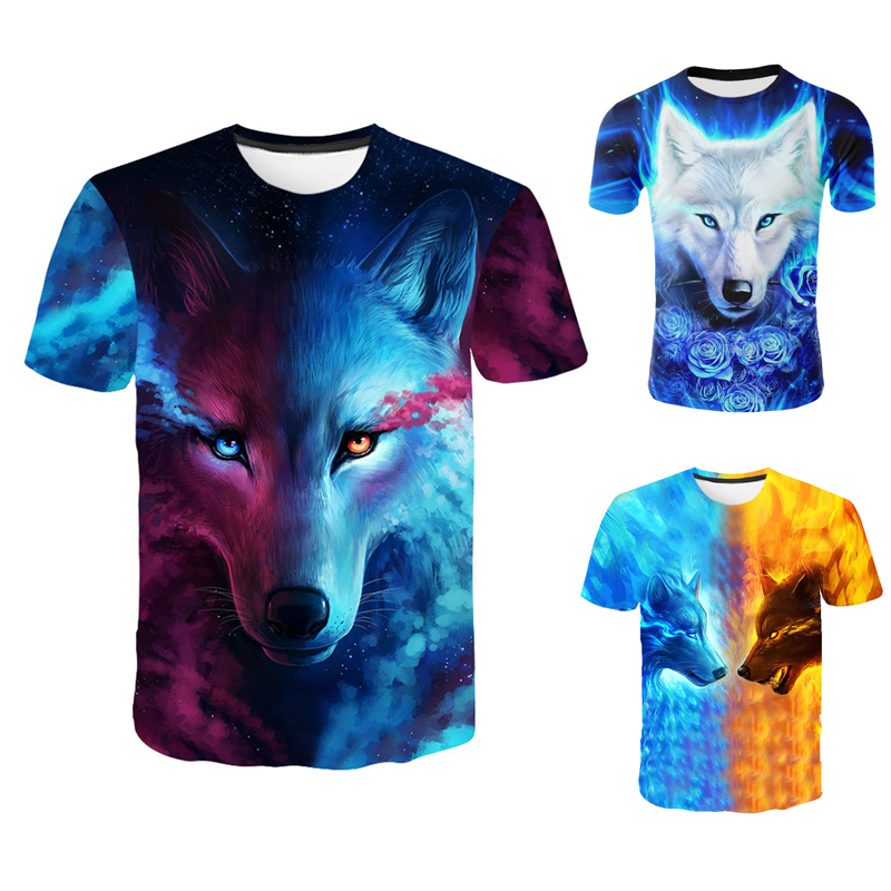 Fashion Men Wolf 3D Print T-Shirt Casual Short Sleeve Tops O-neck Wolf Printing Pattern T-shirt Cool Funny Animal T Shirt Male
