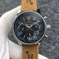 Relojes mecánicos automáticos de marca de lujo para hombre, calendario luminoso de cuero marrón de acero inoxidable, mapa mundial de zafiro limitado AAA +