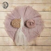Don&Judy Wool Felt Fleece Layer Blanket+ Wrap+Hat 3pcs/set Super Soft Basket Filler Stuffer Newborn Infant Photography Props