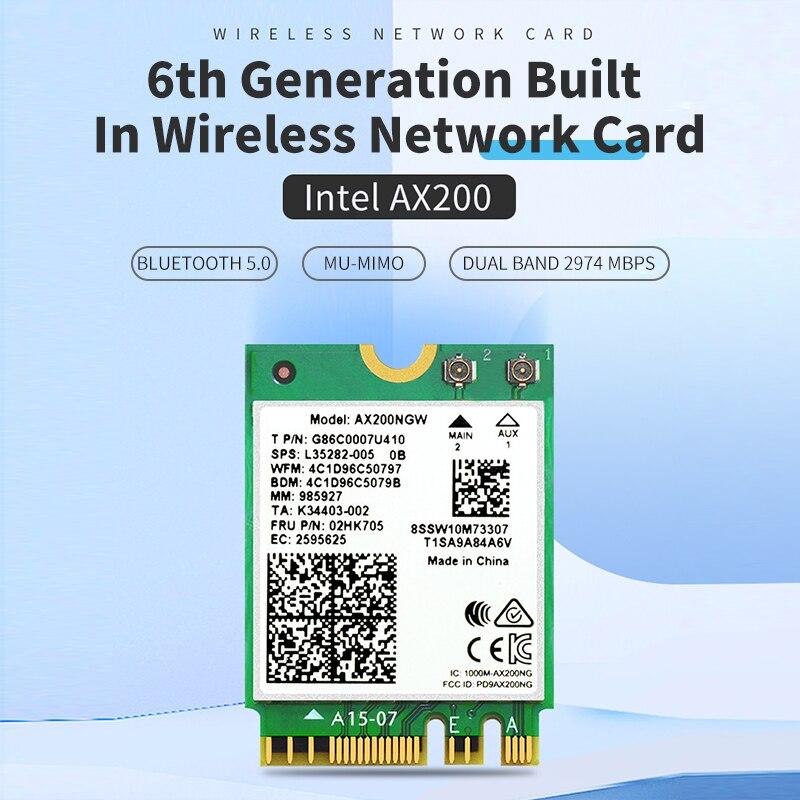 Беспроводная сетевая карта AX200 WiFi 6 Intel AX200NGW NGFF 802.11ax/ac двухдиапазонный 2,4 ГГц 5 ГГц M.2 Bluetooth 5,0 адаптер для ноутбука|Сетевые карты|   | АлиЭкспресс
