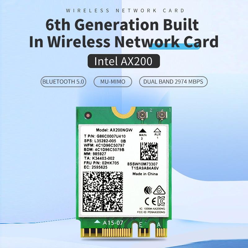 Kablosuz ağ kartı AX200 WiFi 6 Intel AX200NGW NGFF 802.11ax/ac Dual Band 2.4Ghz 5Ghz M.2 Bluetooth 5.0 adaptörü Laptop için