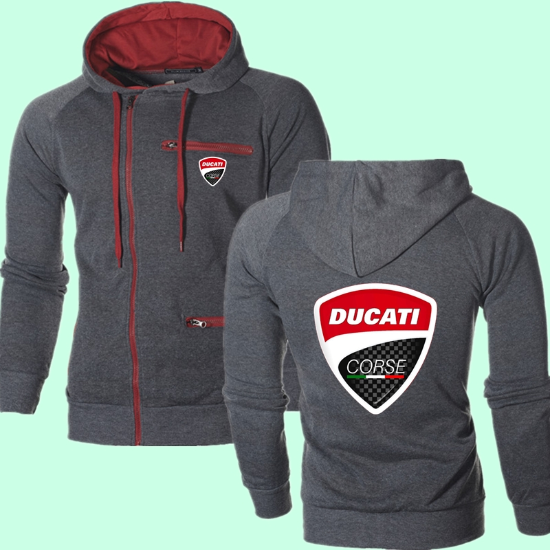 New Brand Ducati Car LOGO Hoodies Comfortable Zipper Male High Street Clothes Winter College Fitness Sweatshirt Fast Delivery