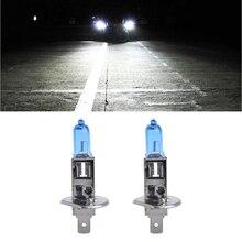 купить 1Pair Car Headlight H1 H3 H7 Lamp Super White Car Halogen Bulb 100W Fog Light DC 12V 4300K Headlight Bulbs дешево
