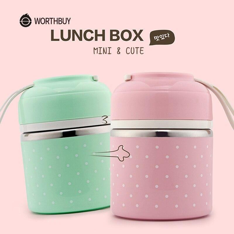 WORTHBUY 어린이 학교를위한 귀여운 일본 도시락 상자 휴대용 음식 용기 스테인레스 스틸 도시락 상자 주방 누출 방지 도시락 상자