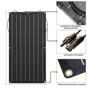 solar panel 300w 200w 100w 400w 18V 24V flexible solar panel For 12V  battery charger Monocrystalline cell 1000w home system kit 1