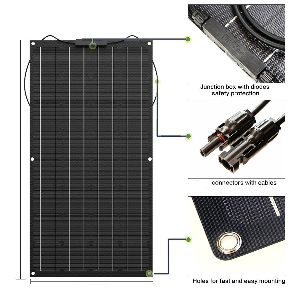 Painel solar 300w 200w 100 400 flexível etfe pet pv fotocristalino célula 12v 24v carregador de bateria 1000w kit sistema doméstico