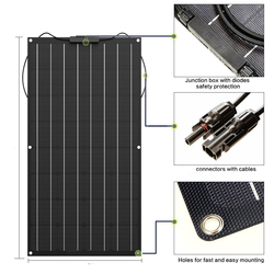 Solar Panel 300w 200w 100w 400w Flexible ETFE PET Photatic PV Monocrystalline Cell 12V 24V Battery Charger 1000w Home System Kit