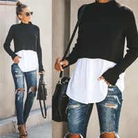 Autumn Winter Black Knit Sweater Women 2019 Patchwork Long Sleeve Button Pullover Women Jumper