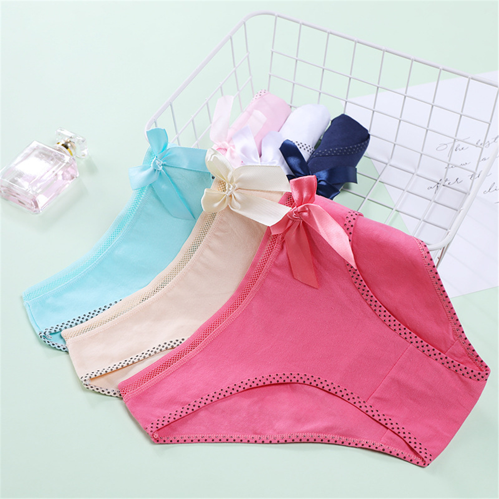 CWFMZQ Woman's Underpants Cotton Panties Breathable Lingerie Briefs Panty Bowknot Mid-Waist Seamless Underwear Ladies Lenceria