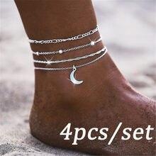 Женский многослойный браслет с подвеской в виде Луны, плетеные сандалии, цепочка для ног, ювелирные изделия, браслеты для женщин, цепочка дл...